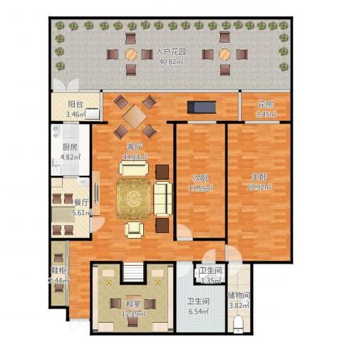 龙福家园2室2厅2卫1厨220.00㎡户型图