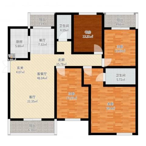 嘉业阳光水榭别墅4室2厅2卫1厨187.00㎡户型图