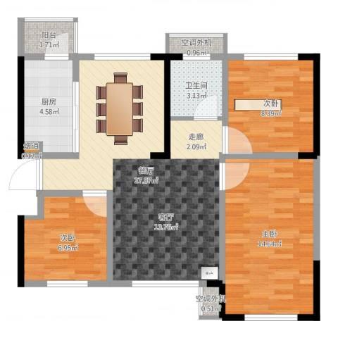 蓝光COCO蜜城3室1厅1卫1厨85.00㎡户型图
