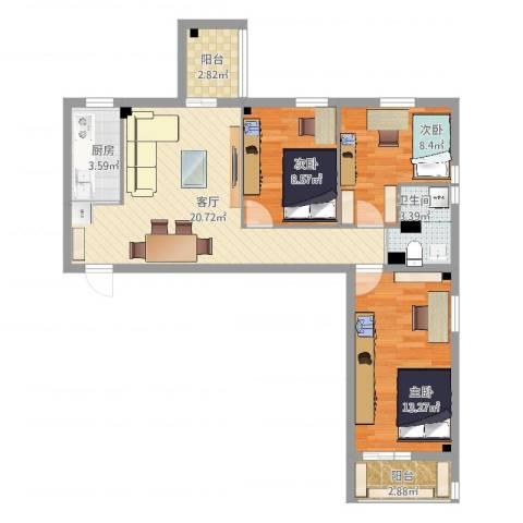 花园路3号院3室1厅1卫1厨80.00㎡户型图