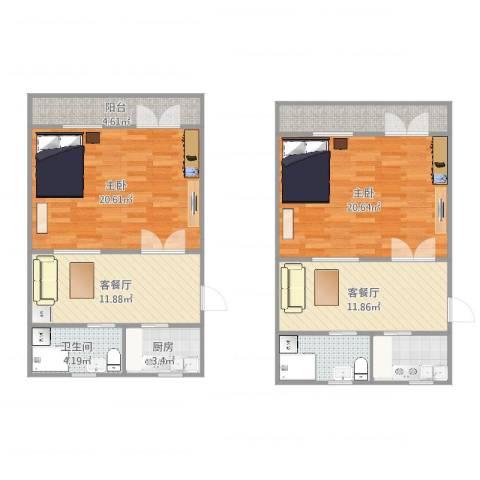 天山五村六层老公房2室4厅1卫1厨112.00㎡户型图