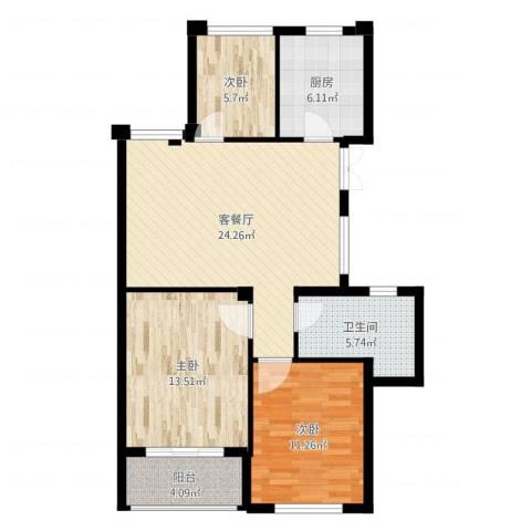 曙光之城3室2厅1卫1厨88.00㎡户型图