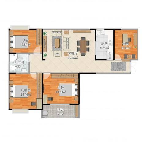 仙林国际花园3室2厅1卫1厨124.00㎡户型图