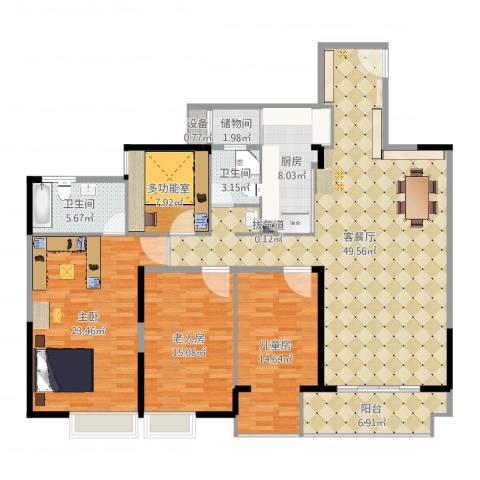 莲丰雅苑二期3室2厅2卫1厨172.00㎡户型图