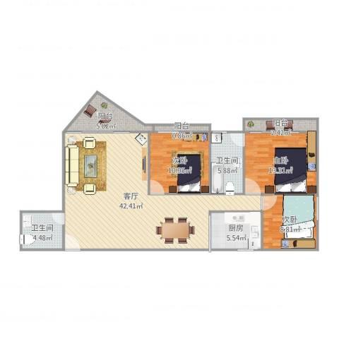 中铁财富港湾3室1厅2卫1厨125.00㎡户型图
