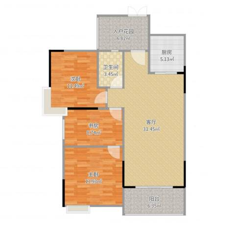 尚东雅轩3室1厅1卫1厨109.00㎡户型图