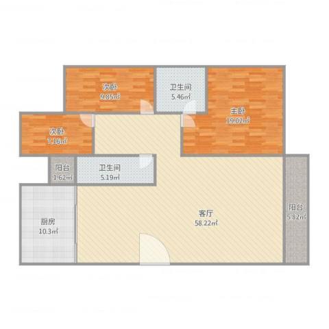 天明豪庭3室1厅2卫1厨164.00㎡户型图