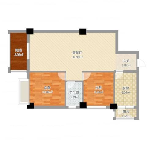 南都邻秀2室2厅1卫1厨83.00㎡户型图