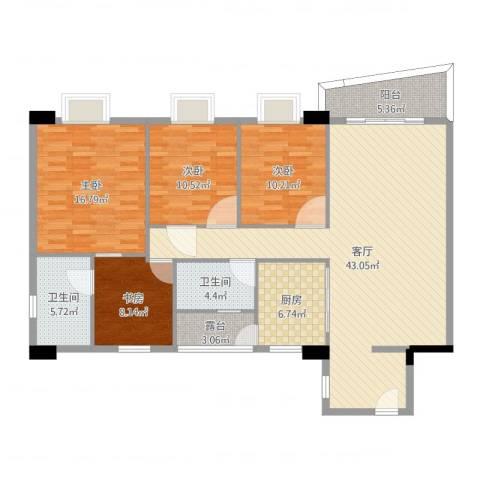 花街18三期4室1厅2卫1厨142.00㎡户型图