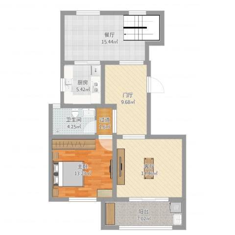 书香名府1室2厅1卫1厨89.00㎡户型图