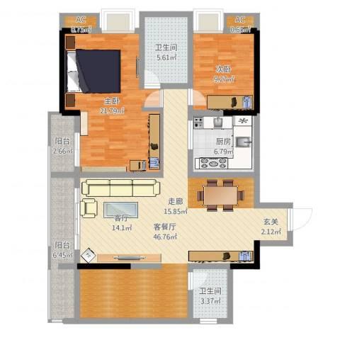 都和广场2室2厅2卫1厨130.00㎡户型图