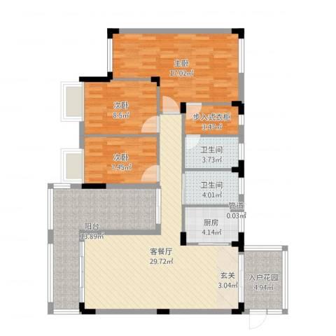 东城花园3室2厅2卫1厨121.00㎡户型图