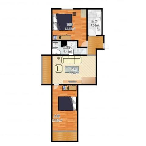 中央财经大学家属楼2室1厅1卫1厨70.00㎡户型图