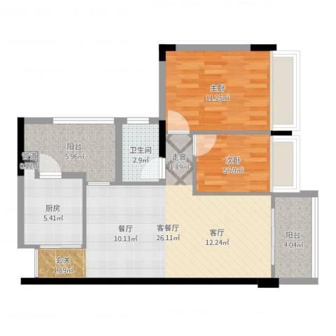 广州雅居乐花园时光九篇2室2厅2卫1厨77.00㎡户型图