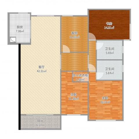 力高阳光海岸3室1厅2卫1厨163.00㎡户型图