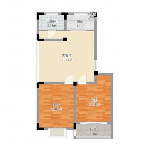 荷花苑2室2厅1卫1厨79.00㎡户型图