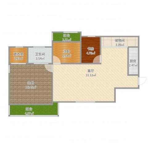 鹭江新城140.13室1厅1卫1厨105.00㎡户型图