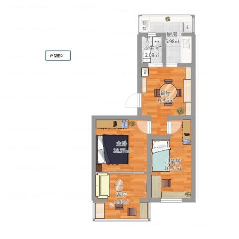 柳林馆南里2室2厅1卫1厨61.00㎡户型图
