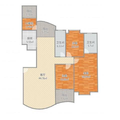 国贸春天4室1厅2卫1厨152.00㎡户型图