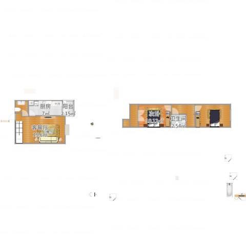 富江家园1室2厅1卫1厨78.00㎡户型图