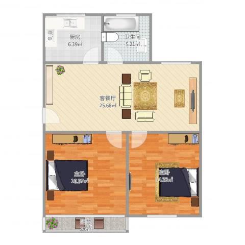 金田花园2室2厅1卫1厨94.00㎡户型图