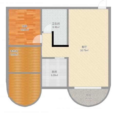 福津大街1室1厅1卫1厨101.00㎡户型图