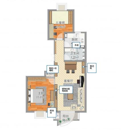 兴隆家园三期2室2厅1卫1厨98.00㎡户型图