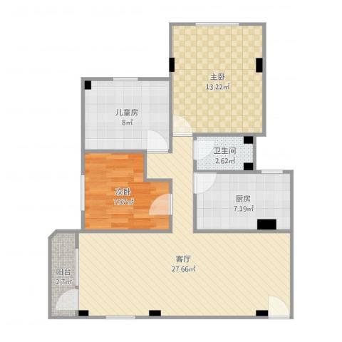 如意楼3室1厅1卫1厨87.00㎡户型图