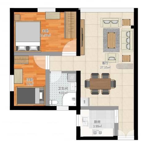 香溪庄2室1厅1卫1厨67.00㎡户型图