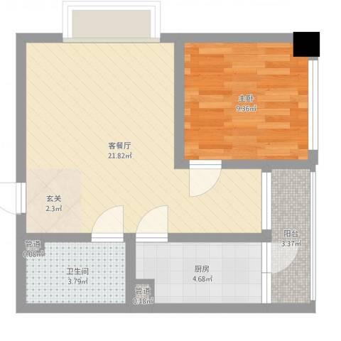 天奇渝中世纪1室2厅1卫1厨54.00㎡户型图
