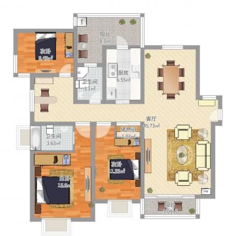 凯德汇豪天下3室1厅2卫1厨134.00㎡户型图