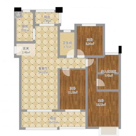 保利香槟国际3室2厅1卫1厨124.00㎡户型图