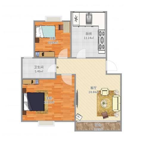 新舒苑96号601室82平2室1厅1卫1厨95.00㎡户型图