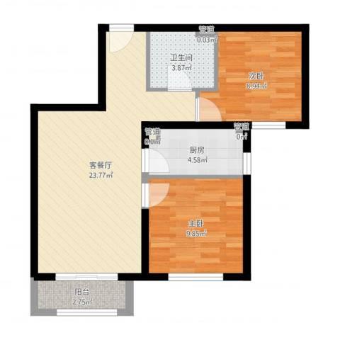 北京汇星苑2室2厅1卫1厨78.00㎡户型图