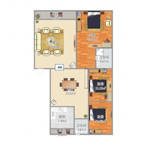齐鲁花园3室2厅2卫1厨153.00㎡户型图