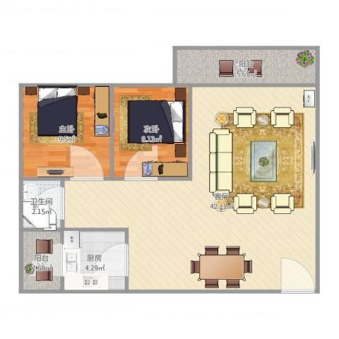 威斯广场峰景2室1厅1卫1厨74.61㎡户型图