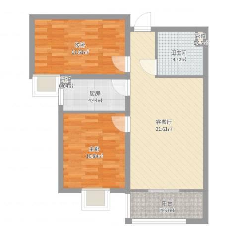 龙溪城2室2厅1卫1厨72.00㎡户型图