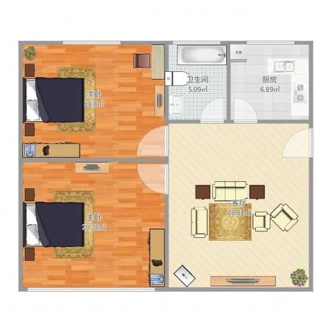 航城园2室1厅1卫1厨104.00㎡户型图