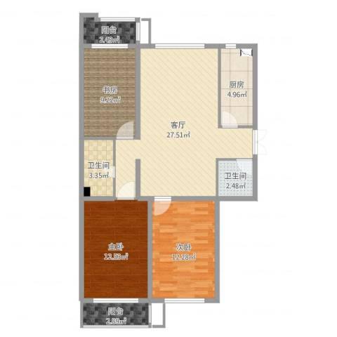 嘉美广场3室1厅2卫1厨97.00㎡户型图