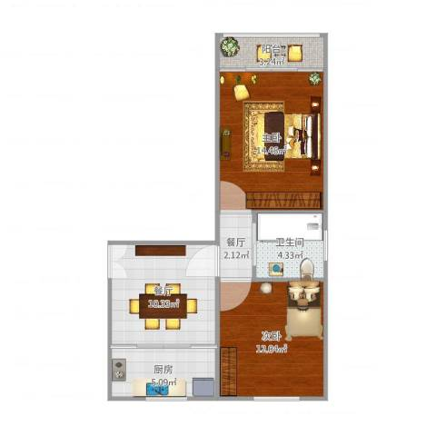 水霞小区2室2厅1卫1厨65.00㎡户型图