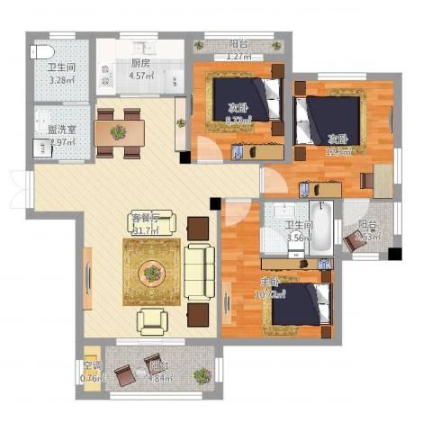 浅水湾蔚蓝水岸3室4厅2卫1厨109.00㎡户型图