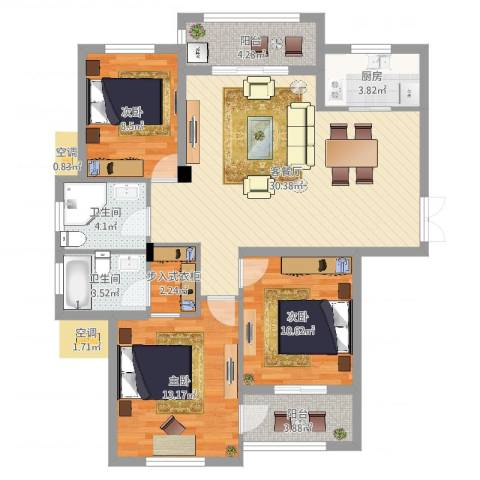 浅水湾蔚蓝水岸3室2厅2卫1厨106.00㎡户型图