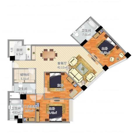 文苑风荷3室2厅3卫1厨154.00㎡户型图