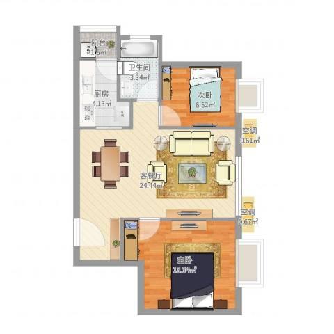 明楼东区2室2厅1卫1厨67.00㎡户型图