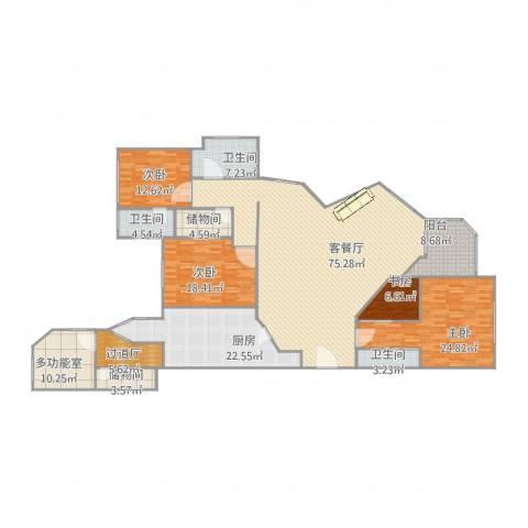 华山夏都苑4室2厅3卫1厨221.00㎡户型图