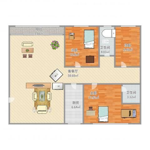 新家坡园景苑3室2厅2卫1厨156.00㎡户型图