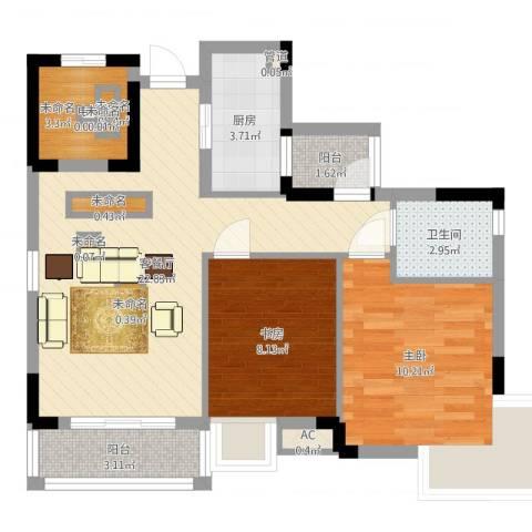 万达丰大厦2室2厅1卫1厨84.00㎡户型图