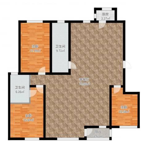 富力津门湖红树花园3室2厅2卫1厨180.00㎡户型图