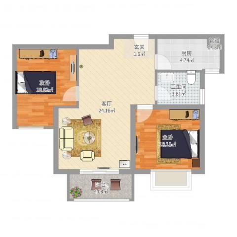 绿地高铁东城2室1厅1卫1厨72.00㎡户型图