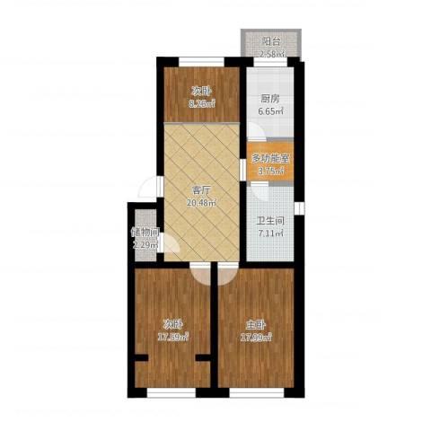 厂洼街23号院3室1厅1卫1厨108.00㎡户型图